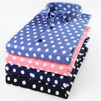 Spring Mens Polka Dot Pattern Long Sleeve Slim Fit Blouse Hot Formal Dress Shirt