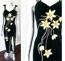 Embellished Vintage 70s Floral Halter Velour Cocktail Party Green Dress Sz S