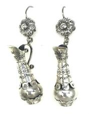 Deco Floral Hanging Pitcher Earrings Taxco Mexican 925 Sterling Silver Unique