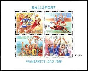 NORWAY 1988 FOOTBALL /SOCCER S/S MNH VOLLEYBALL BASKETBALL CV
