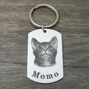 Your Pet Photo Keychain Personalized Cat Keychain Dog Keyring Pet Memorial Gift