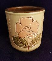 Ancien Pot Céramique Émaillée Signé Vilà Clara Art Espagnol décor fleurs poterie