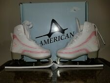 American Figure Ice Skates Tricot Lined Figure Skates Sz 12y Pink Candy