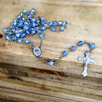 Catholic Rosary Necklace Blue Crystal Beads Caridad Medal & Cross Crucifix