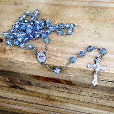 Catholic Rosary Necklace Blue Crystal Beads Caridad Medal & Cross Crucifix