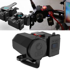 12V Dual USB ATV Moped Scooter Charger Bar Mirror Mount Cigarette Lighter Socket