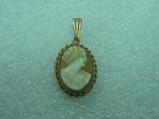 10k Yellow Gold Carved Cameo Pendant. Twisted Rope Bezel Setting. Jewelry Lot