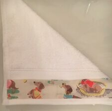 JOHN LEWIS FACE CLOTH TRIMMED WITH CATH KIDSTON SAUSAGE  DOG 30x30CM