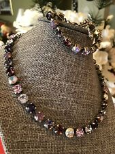 Swarovski Crystal Elements In Antique Silver Chain Shades Of Purple 8mm Jewelry