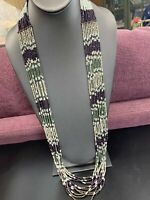 Vintage Multi Strand  Miss Eggplant White Seed Bead Bohemian Long Necklace 38""