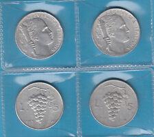 ITALIA DUE LIRE 5 VECCHIO TIPO UVA ANNI 1949 e 1950 CIRCOLATE PREZZO REGALO FOTO
