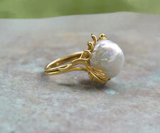Exceptional High Luster 12mm Baroque PEARL RING 14K Gold Size 5 1/4