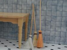 Set Of Three Wooden Brooms, Dolls House Miniatures