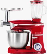 3in1 Küchenmaschine StandMixer Ice Crusher Fleischwolf Teigkneter 6,5L 1900 Rot