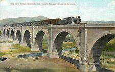c1907 Postcard Salt Lake RR Bridge Riverside CA Largest Concrete Bridge in World