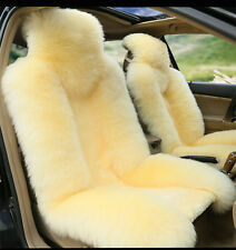Beige Premium Quality Australian Sheep Skin Car Long Wool Front Seat Cover