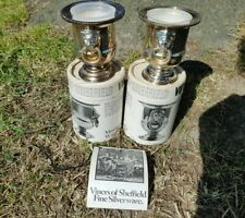 More details for pair vintage viners of sheffield england silver plate small urns lions boxed