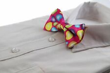 MENS PINK MULTICOLOURED POLKA DOT BOW TIE PRE-TIED BOWTIE WEDDING FORMAL TIES