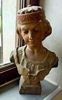 Ancien Buste Prophète initial à restaurer Plâtre Vintage religion signé Antique