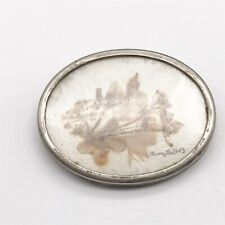 Solid Silver Rim Pin Brooch Vintage Ladies Dried Flower Mary Molloy