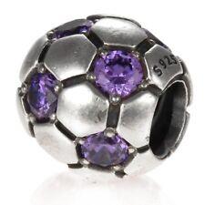 Authentic Pandora Purple CZ Soccer Ball Football Charm Bead 790444ACZ