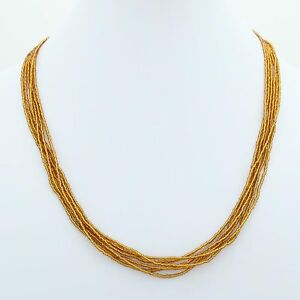 GlassOfVenice Murano Glass Six Strand Seed Bead Necklace - Golden Brown
