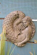 Mermaid Wall Plaque Stone Garden Ornament (Nixie)