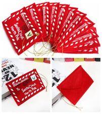 10pcs Christmas Santa Wish Red Letter Envelopes Embroidered Key Tree Felt Decor