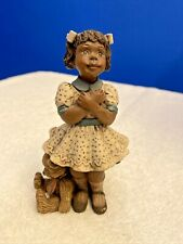 "1994 Sarah'S Attic Black African American Girl Figurine- ""Love And Hugs� Bear"