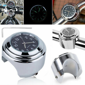New Chrome Motorcycle Bike Handlebar Clock Waterproof Dial Glow Watch
