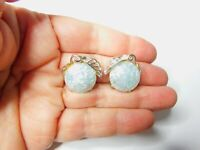 Light Blue White Lucite Confetti Silver Tone  Fruit Clip On Earrings Vintage