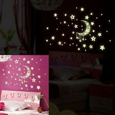 New The Dark Wall Fluorescent Stickers Glow In Bedroom Decor Luminous Moon Stars