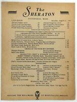 1951 THE SHERATON HOTEL Pittsfield Massachusetts Original Vintage Lunch Menu