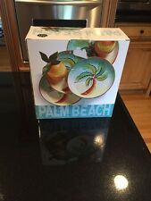 New 4 CLAY ART PALM BEACH PLATES  PALM TREE COLORFUL Salad Desert
