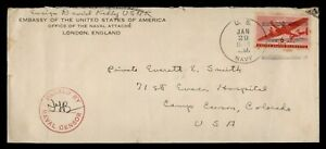 DR WHO 1943 NAVY ATTACHE ENGLAND AIRMAIL TO USA WWII CENSORED  f82134