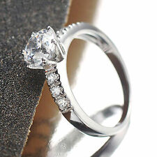 2.00ct Diamond 14k White Gold Fn Solitaire With Accents Wedding Engagement Ring