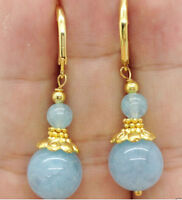Fashion New Style Handmade Natural Aquamarine 14K Gold Plated Leverback Earring
