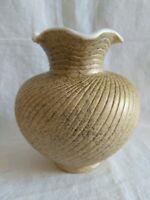 USA Vintage Ruffled Bulbous Vase  Beige Gold Flecks 5.5 X 5.5