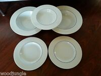 5 RARE EPOCH BLUELINE KATHLEEN WILLS  BOWLS PLATES  CRATE & BARREL ENGLAND