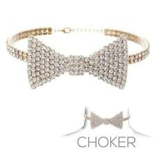 """Clear Rhinestone Gold Tone Bow Tie Adjustable Choker Necklace H: 1.5"""""""