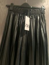 Zara New Collection Faux Leather Pleated Culottes.  Size XL