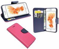 Iphone 8+ Brieftasche Zubehör vertikal seitlich Tasche Hülle Bumper in Pink Blau