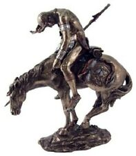 7.5 Inch End of the Trail Mounted Indian Statue American Warrior Indio Figurine