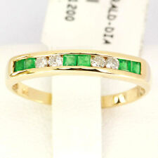 Emerald & Diamond 9ct 9K Solid Gold Sparkling Ring - 30 Day Returns