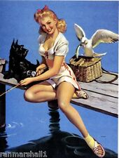 1940s Pin-Up Girl Fishing with Scottish Terrier Dog Picture Poster Print Art