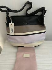 Radley Chartwell Large Hobo Shoulder Bag Work Bag Soft Black Striped Leather New