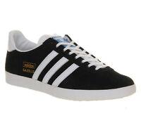 Mens Adidas Gazelle Og BLACK WHITE METALLIC GOLD Trainers Shoes