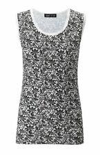 Ladies Lace Print Thermal Cotton Vest Ski Wear Black/White (14-16)