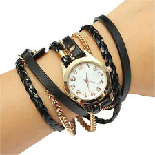 Fashion Women Retro Synthetic Leather Strap Watch Bracelet Wristwatch-Black AD