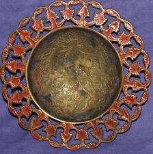 Vintage hand made brass leaf floral ornate bowl